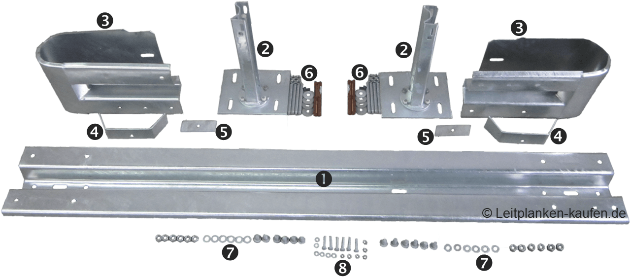 Bestandteile eines Schutzplanken Systems mit Sigma 100 Pfosten